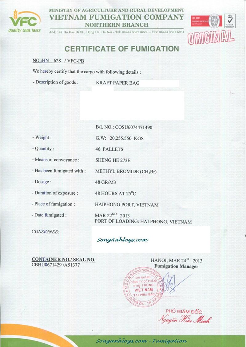 Mẫu ví dụ của giấy Chứng thư hun trùng