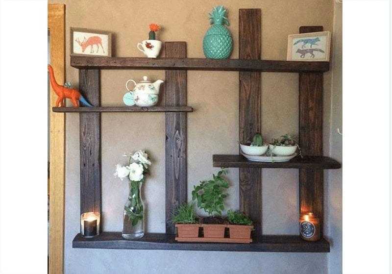 mẫu kệ gỗ trang trí thiết kế sáng tạo