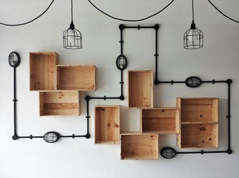 Kệ treo tường gỗ pallet thiết kế độc đáo